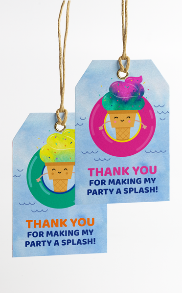 Printable Ice Cream Pool Party Thank You Tags