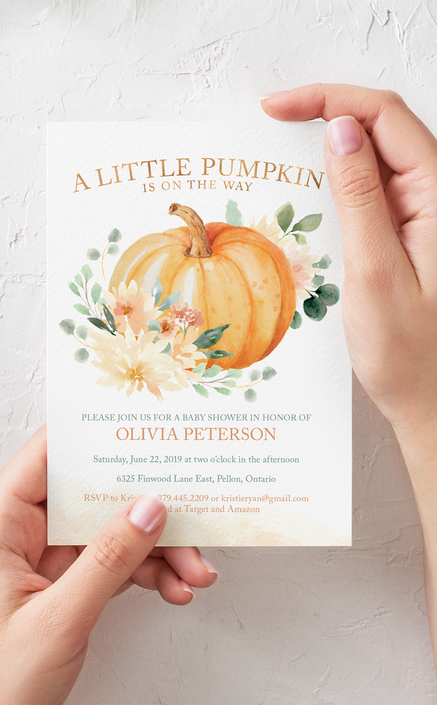 A Little Pumpkin Baby Shower Invitation for a Fall Baby Shower