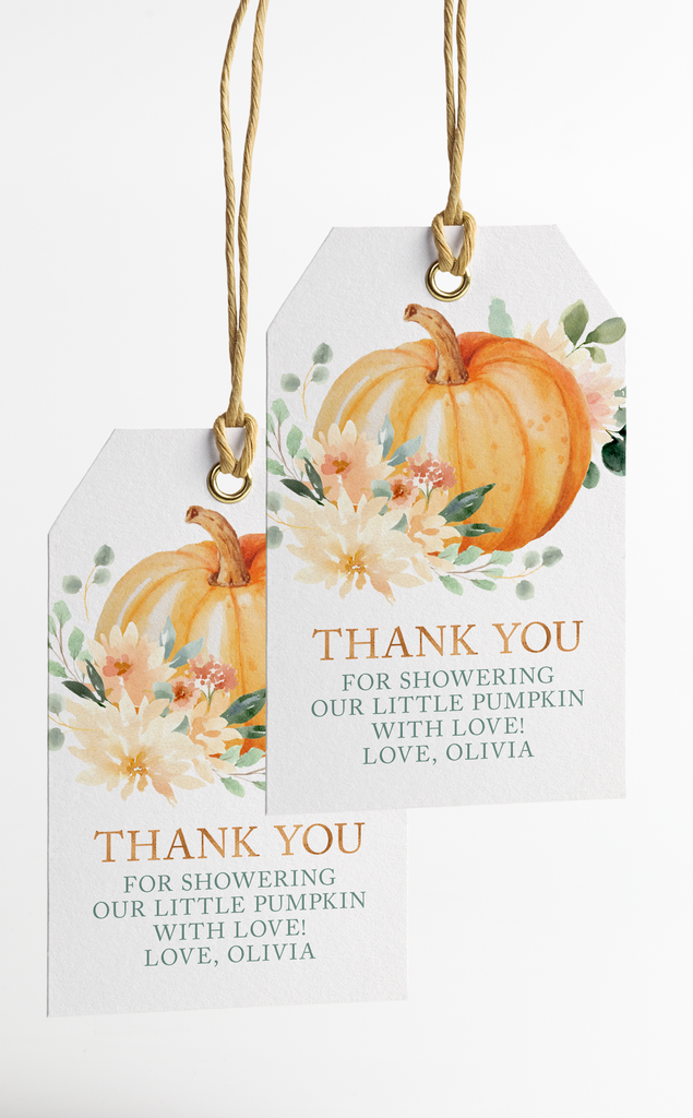 Pumpkin Thank You Tags Printable File for Fall Baby Shower or Party