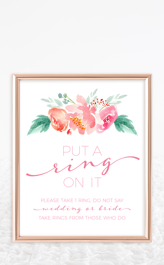 Pink Floral Put a Ring on It Bridal Shower Game
