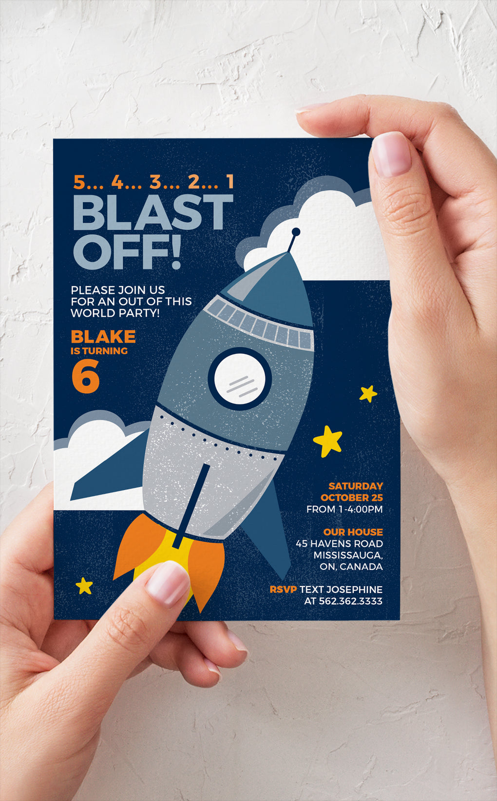 Kids birthday invitation with Rocket ship and clouds in outer space