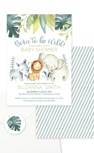 Safari Animals Born to Be Wild Baby Shower Invitation