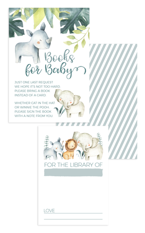 Safari Animals Books for Baby Invitation Insert Cards