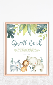 Safari Animals Born to Be Wild Guest Book Sign