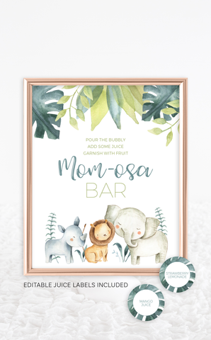 Safari Animals Baby Shower Mom-osa Bar Sign