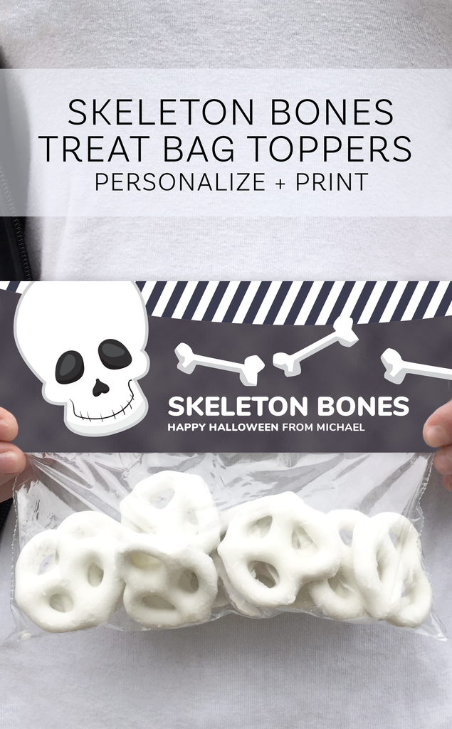 Halloween Skeleton Bones Treat Bag Topper