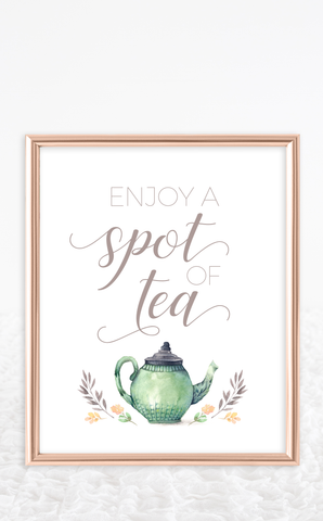Enjoy a Spot of Tea Bridal Shower Sign