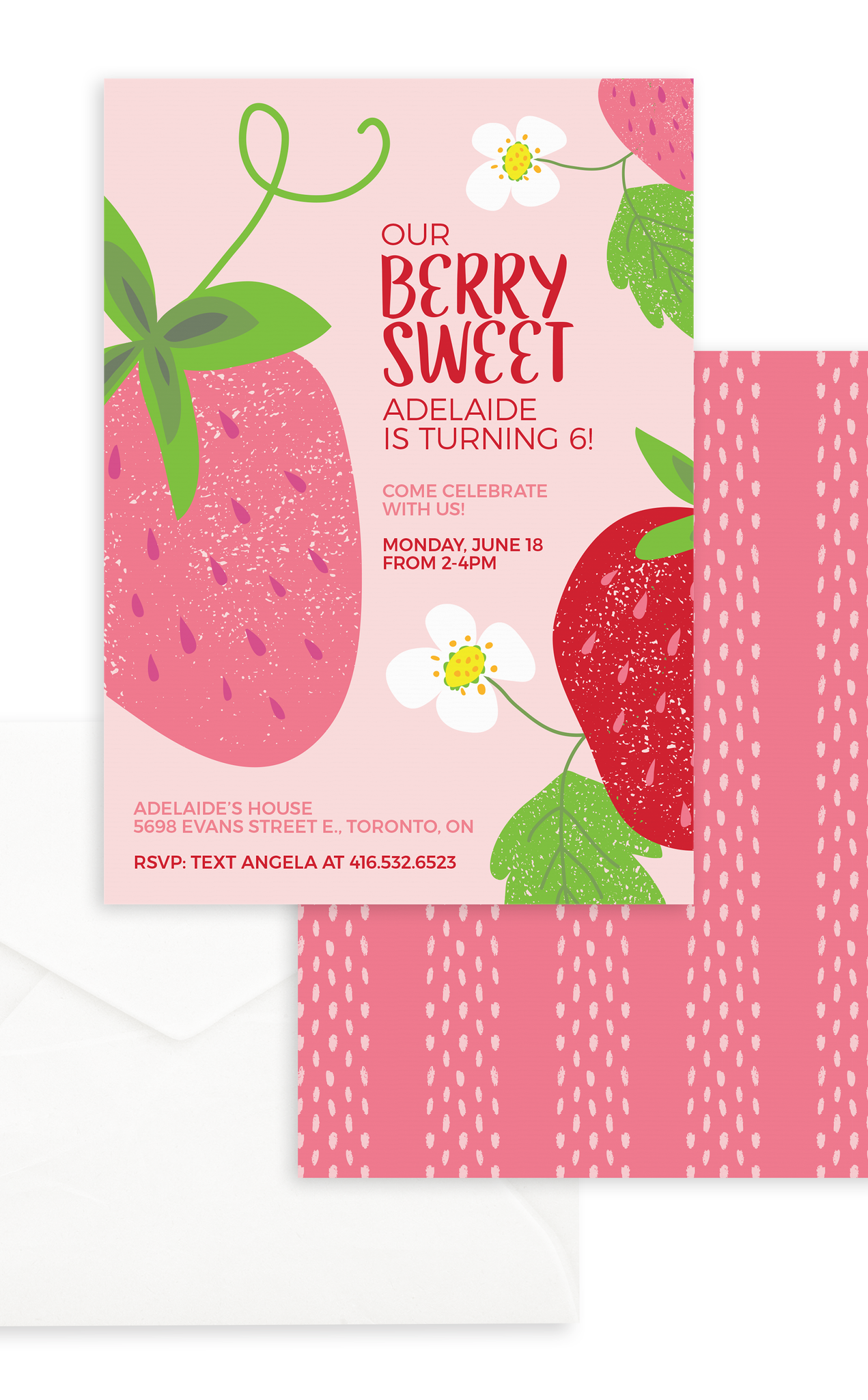 Berry Sweet Strawberry Birthday Invitation Printable File
