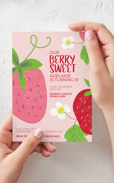 Berry Sweet Strawberry Birthday Party Invitation