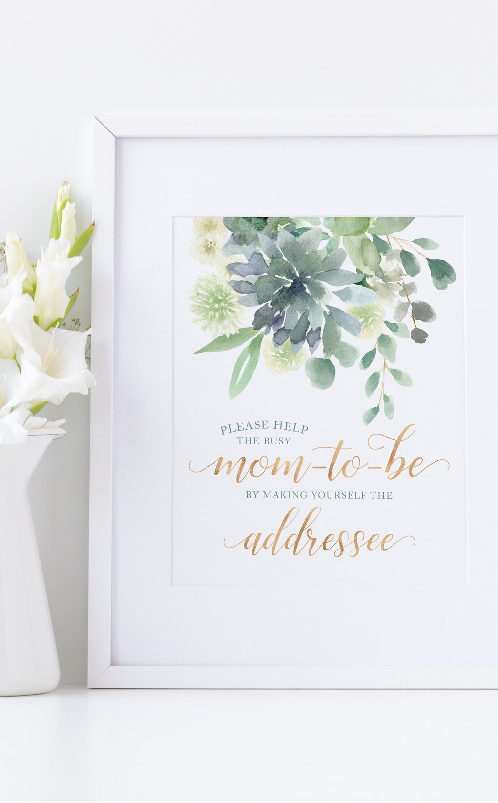 Succulent Address an Envelope Baby Shower Sign