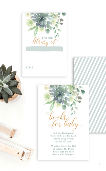 Succulent Books for Baby Insert Card