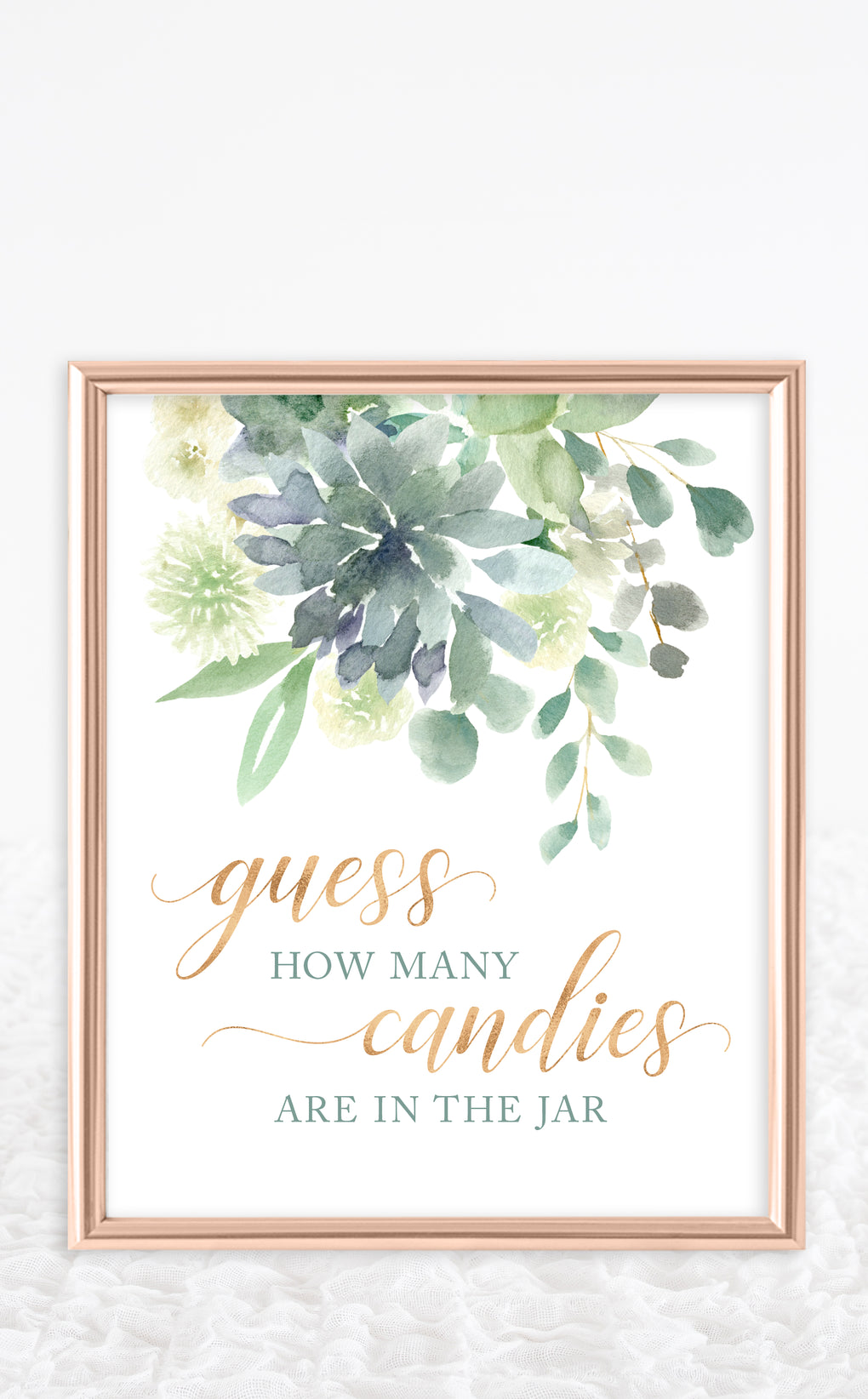 Frame showing succulent art work for guess how many candies are in the jar baby shower game