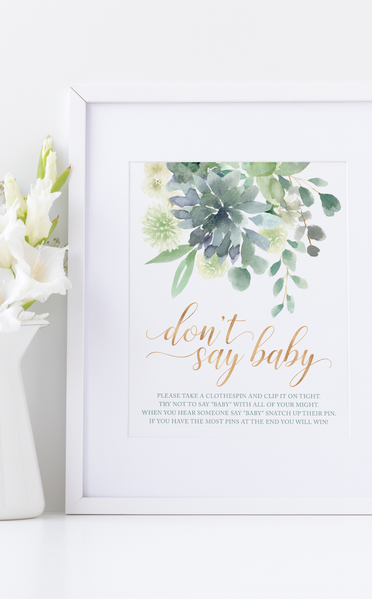 Succulent Baby Shower Don't Say Baby Clothespin Game Sign
