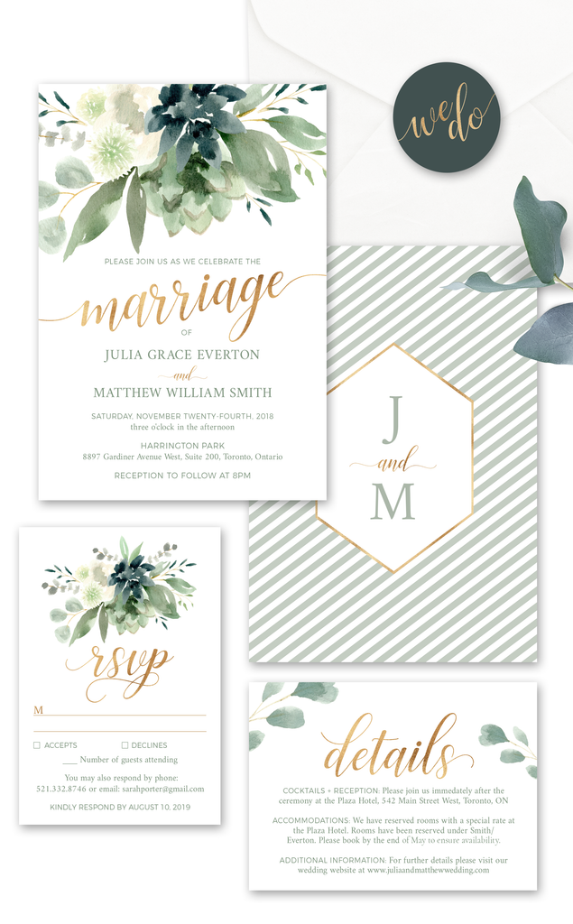 Succulent Wedding Invitation Suite