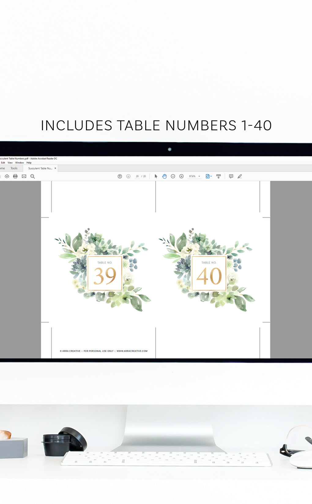 Succulent Wedding Table Numbers