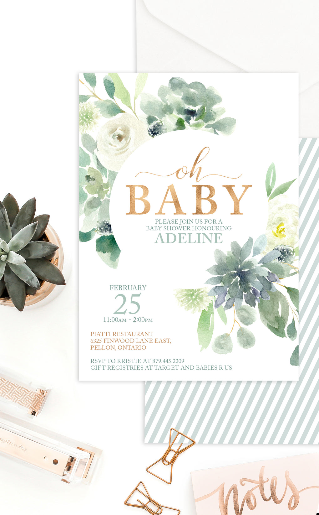 Succulent Baby Shower Invitation Sized 4x6