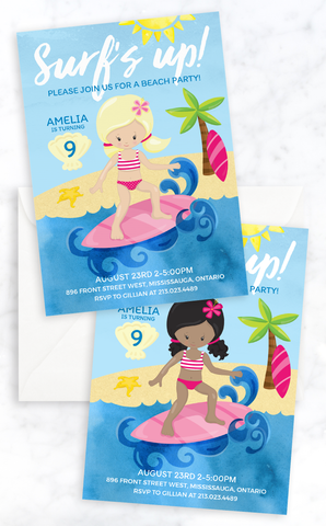 Surfer Girl Beach Party Birthday Invitation