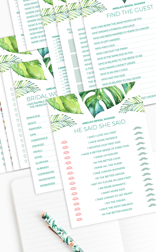Tropical Bridal Shower Games Bundle