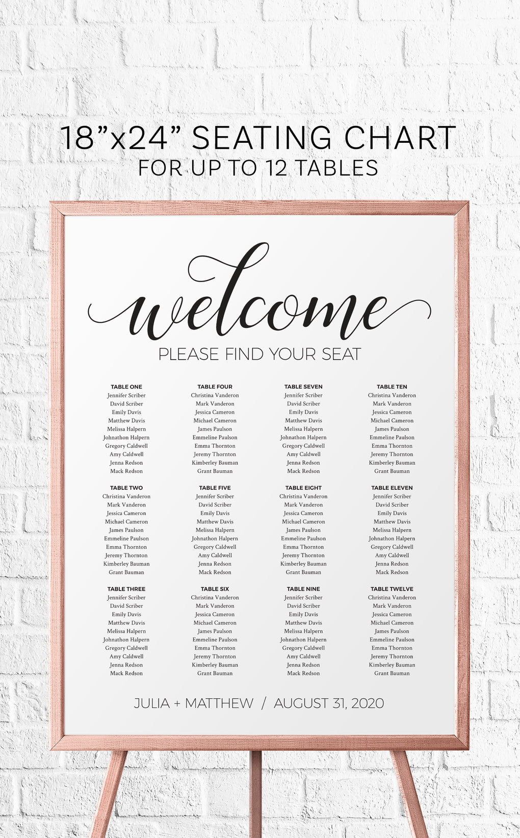 Black and White Wedding Seating Chart