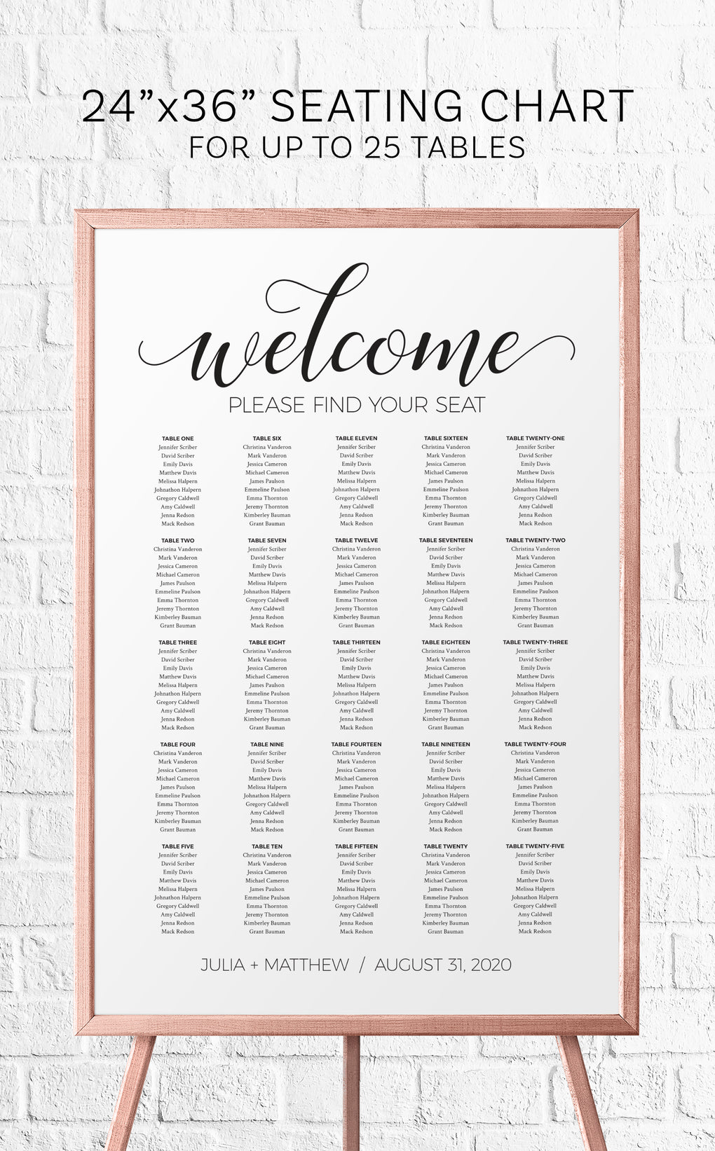 Printable black and white Wedding seating chart and Welcome sign
