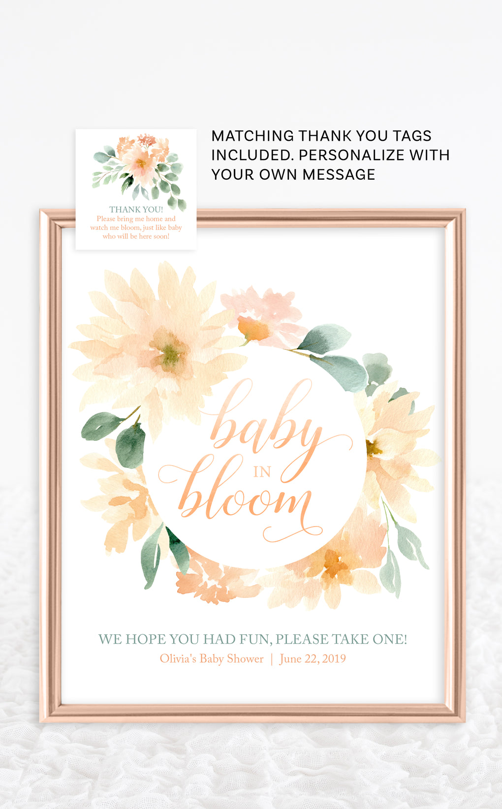 Baby in Bloom sign with peach dahlias and greenery in gold frame for Baby Shower