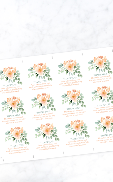Baby in Bloom Printable Sign and Thank You Tags