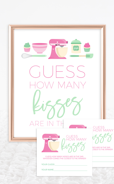 Guess How Many Kisses Game for Baking Bridal Shower