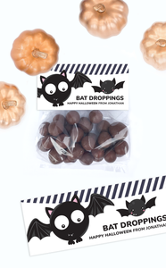 Bat Droppings Halloween Treat Bag Toppers