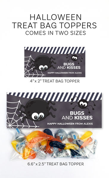 Halloween Bugs and Kisses Treat Bag Topper