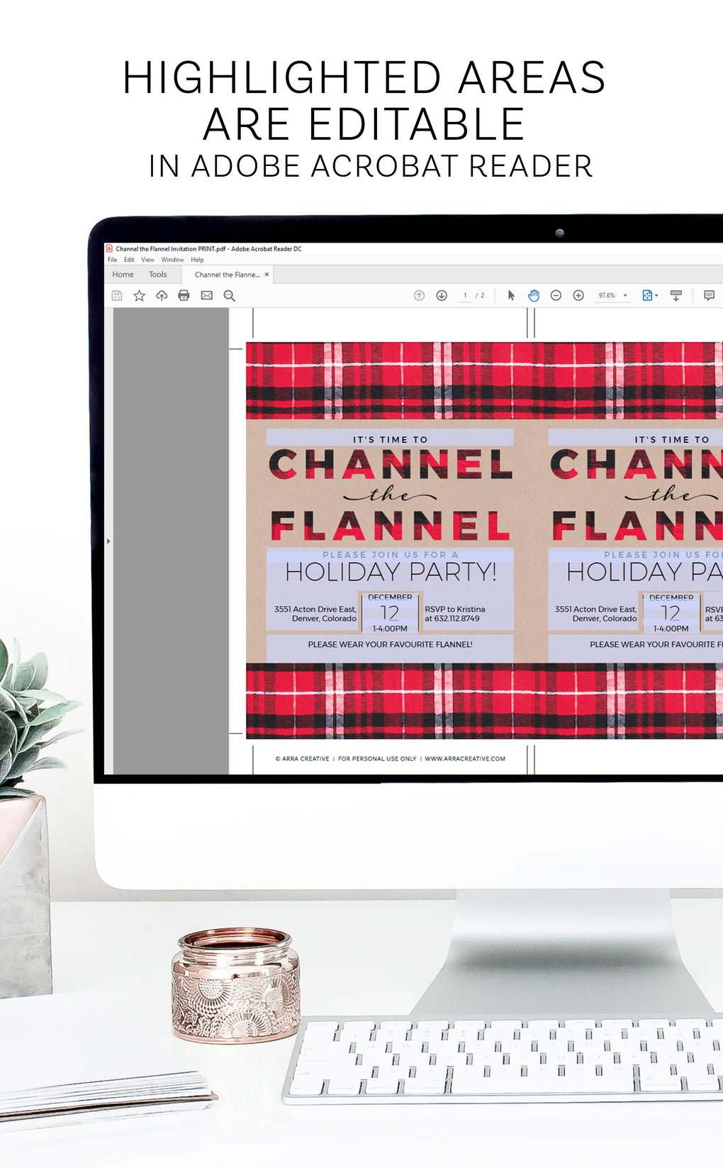 Channel the Flannel <br> Christmas Party Invitation