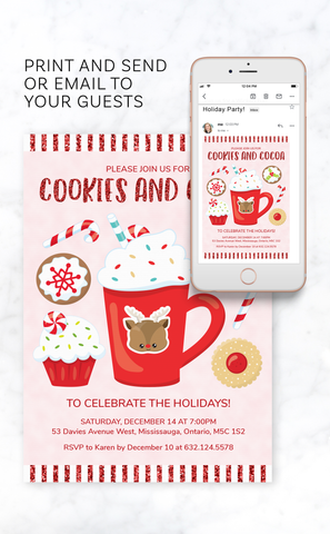 Cookies and Cocoa Christmas Party Invitation