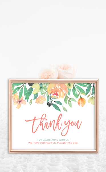 Coral Thank You Sign and Favour Tags
