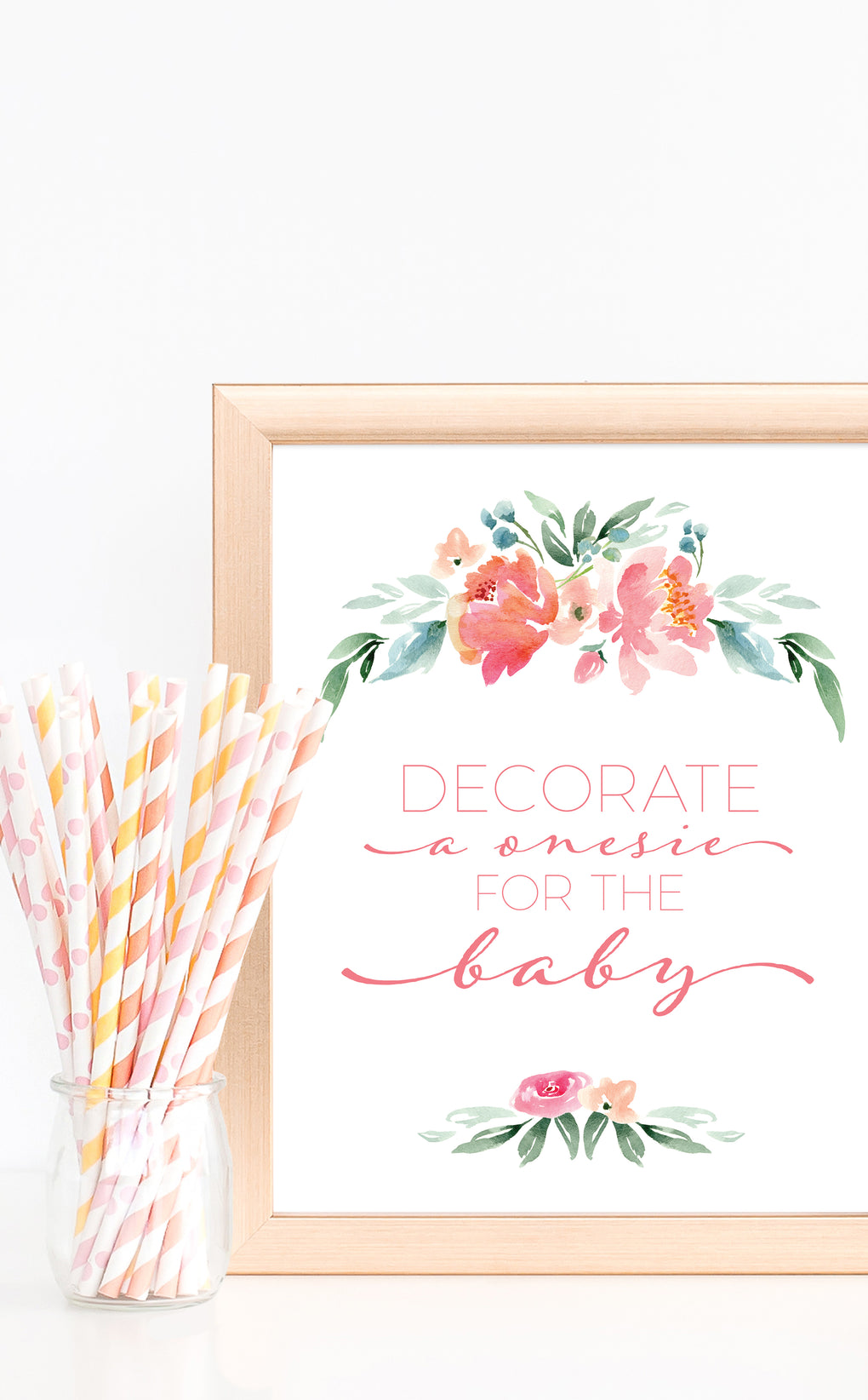 Floral Decorate a Onesie Baby Shower Sign