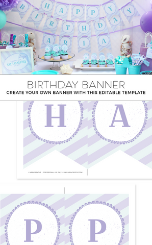 Under the Sea Purple and Teal Birthday Banner
