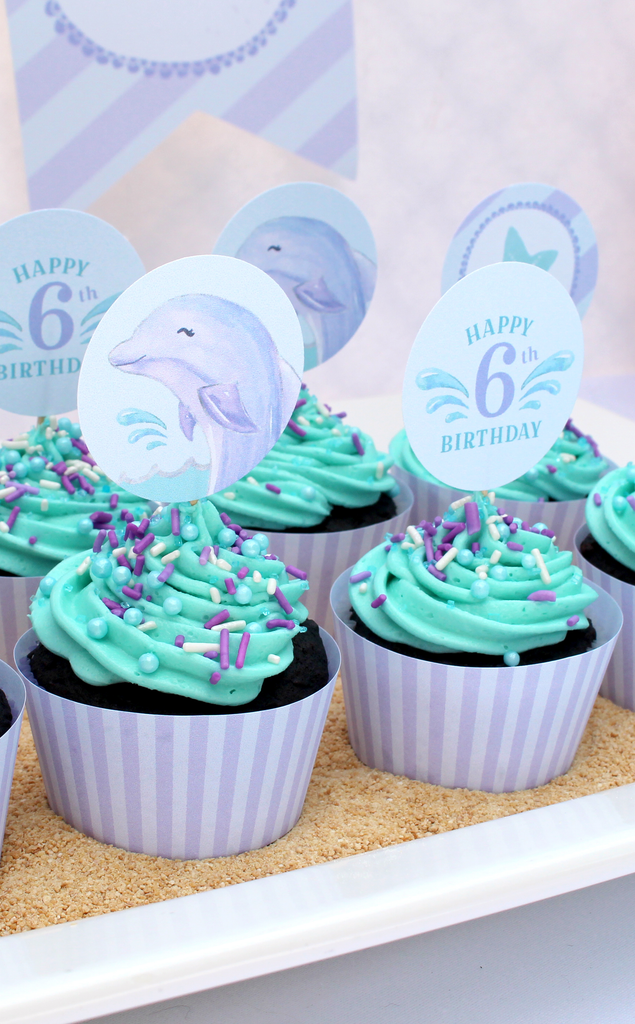 Dolphin Under the Sea Cupcake Toppers and Wrappers