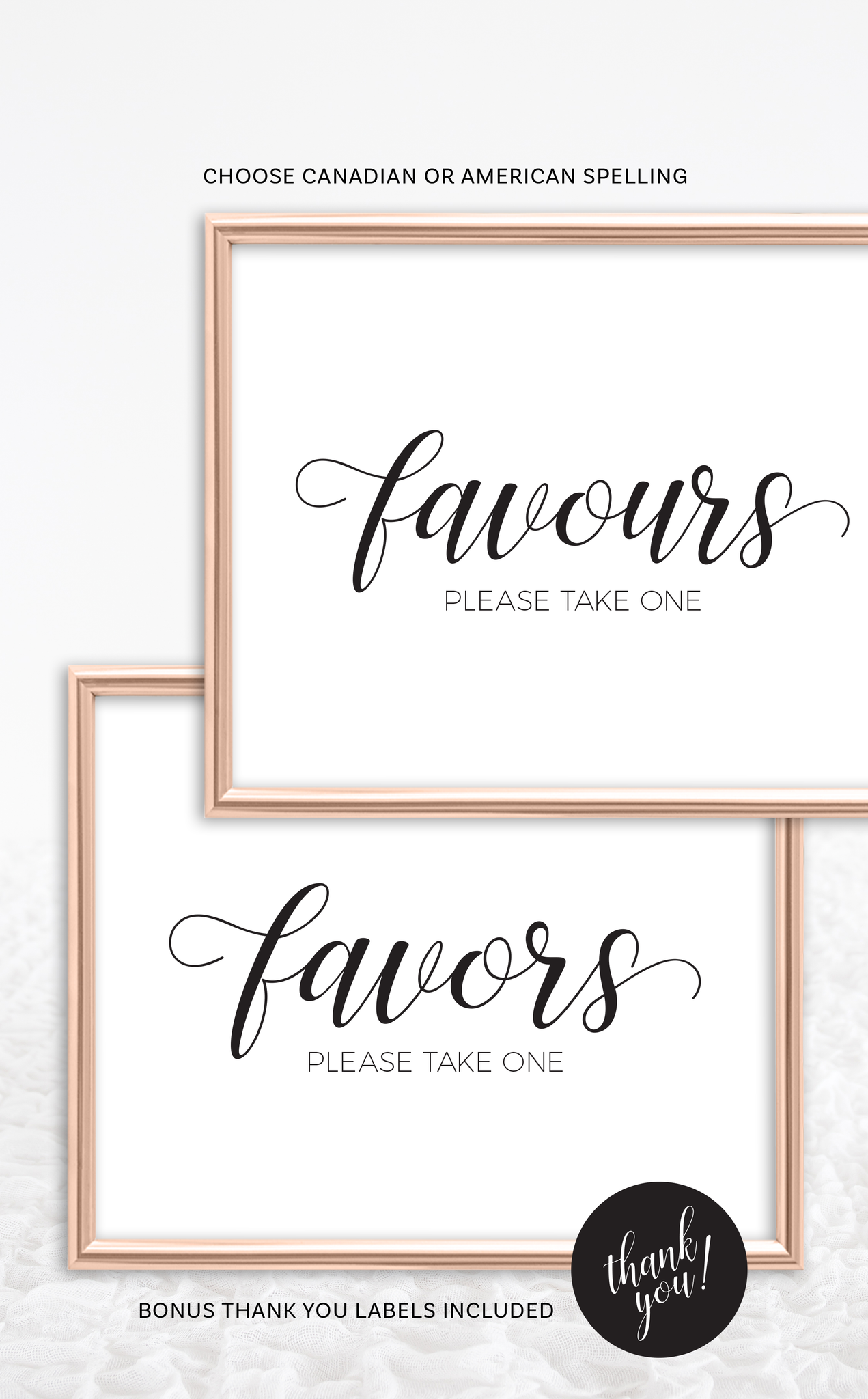 Wedding Favors Sign and Thank You Tags