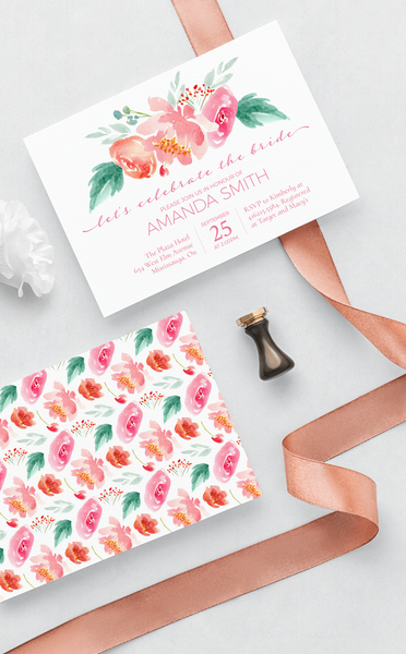 Pink Floral Bridal Shower Invitation Template