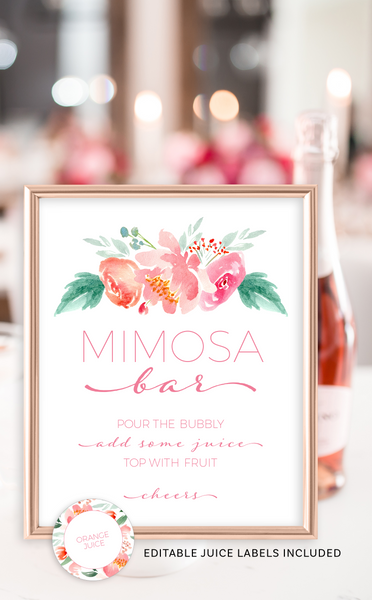 Printable Mimosa Bar Sign and Juice Labels
