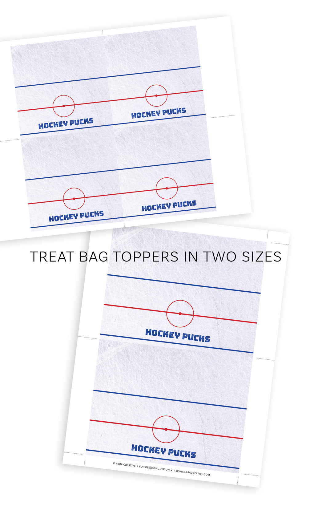 Hockey Treat Bag Toppers