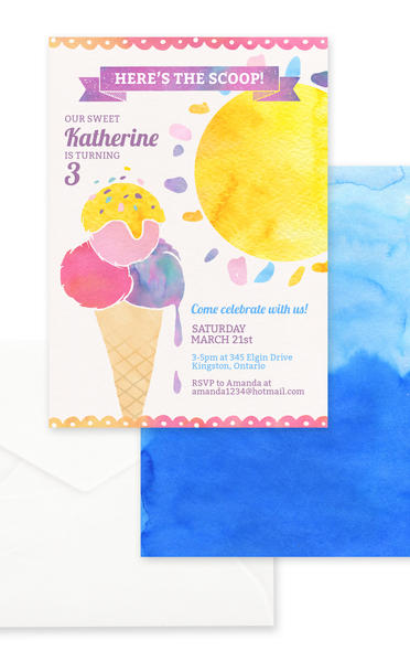Here's the Scoop Ice Cream Birthday Party Invitation