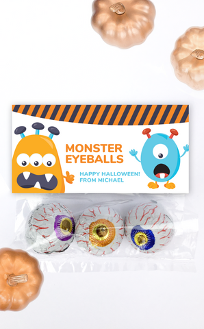 Monster Eyeballs Halloween Treat Bag Toppers