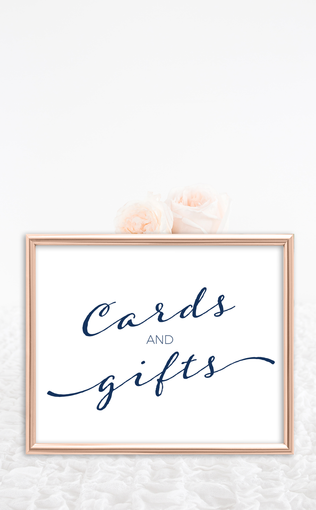 Navy Cards and Gifts Bridal Shower Sign