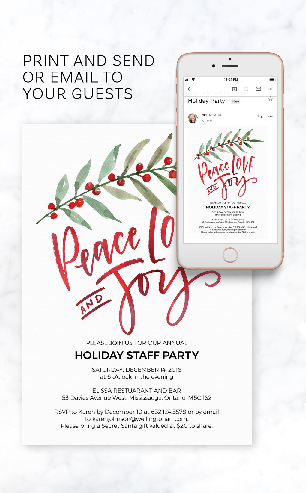 Peace Love and Joy Christmas Party Invitation