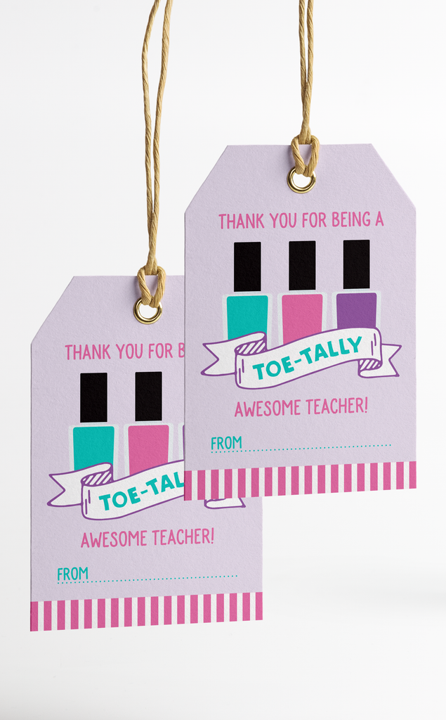 Pedicure Teacher Thank You Gift Card Holder and Gift Tags