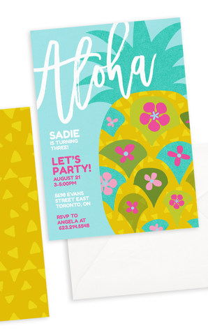Tropical Pineapple Birthday Invitation