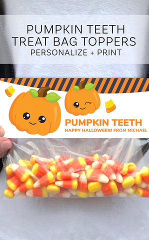 Halloween Pumpkin Treat Bag Topper