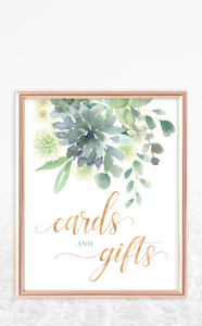 Succulent Cards and Gifts Sign