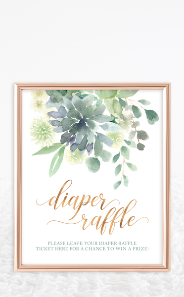 Succulent Diaper Raffle Sign and Tickets