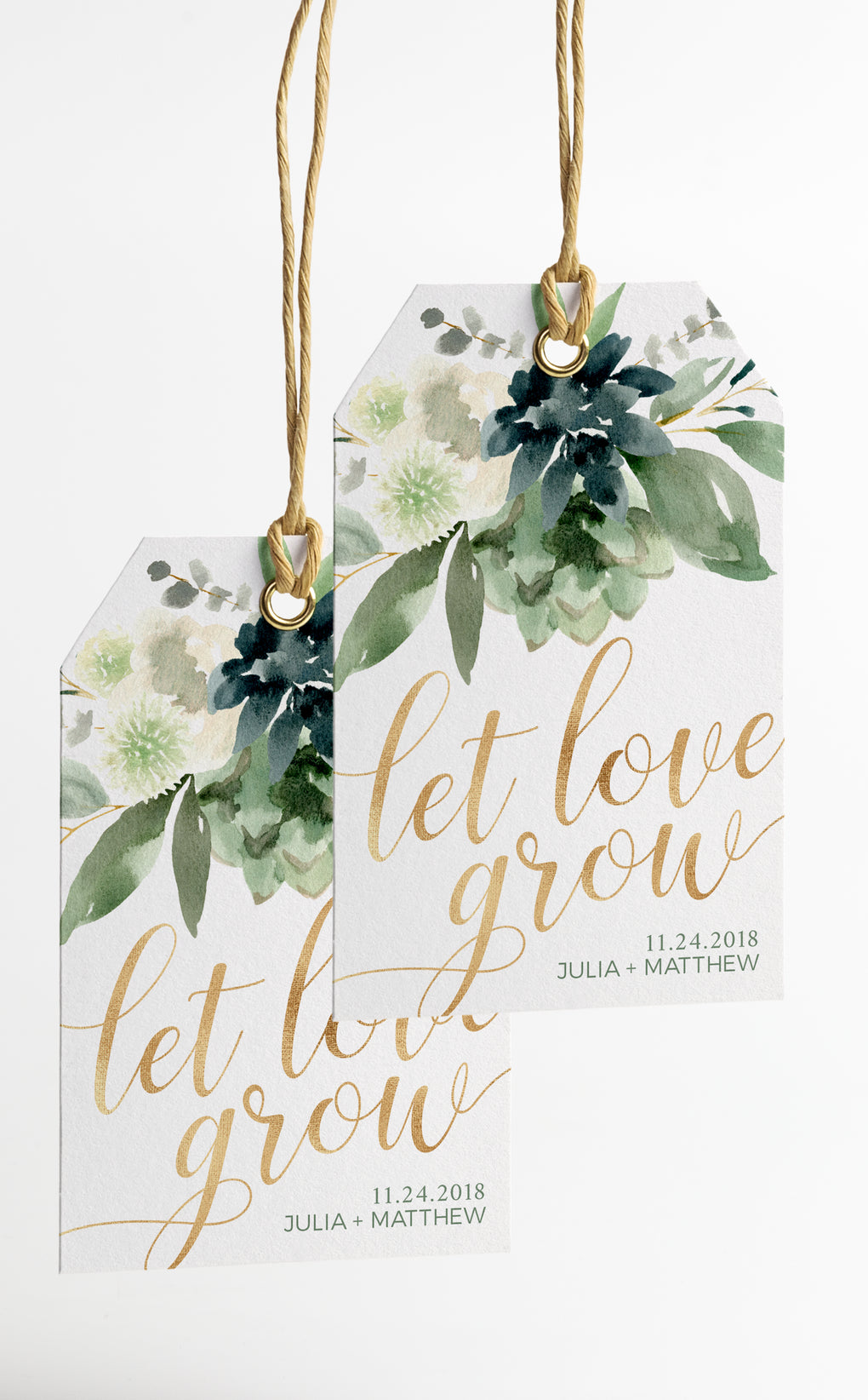 Succulent Wedding Favour Tags and Sign