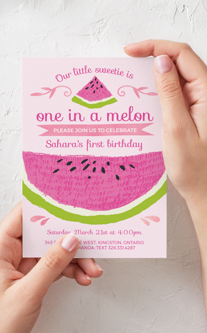 Watermelon Birthday Invitation - One in a Melon